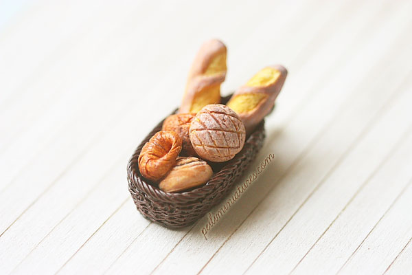 Clay Jewelry - Bread in a Basket Pendant