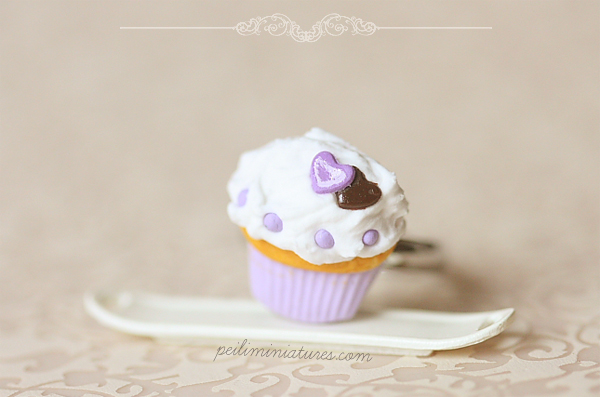 Cupcake Ring - Purple Sweet Heart Food Jewelry