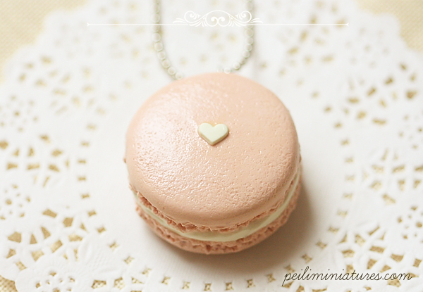 Macaron Necklace in Barely Pink Color-food jewelry, macaron necklace