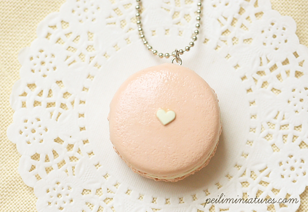 Macaron Necklace in Barely Pink Color