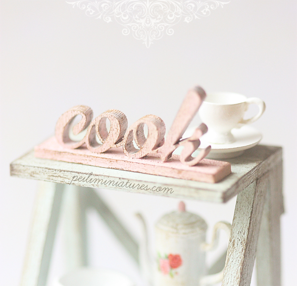 Dollhouse Miniature - Free Standing Distressed Wood Letters - COOK