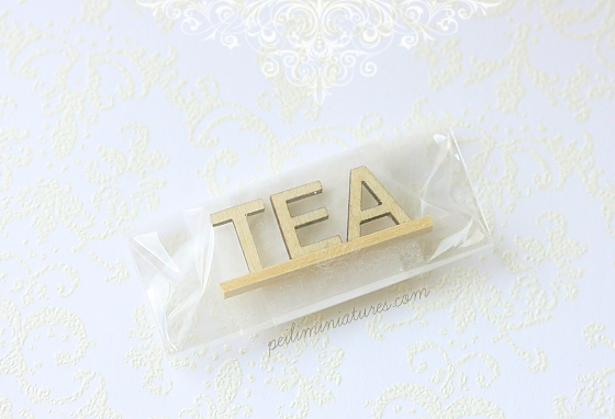 Dollhouse Miniature - Wood Letters - Free Standing Wooden Letters - TEA (Big)