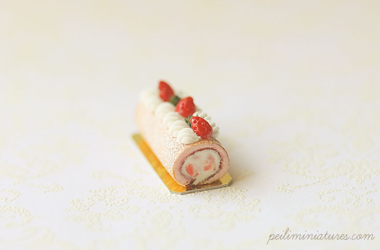 Strawberry Swiss Roll Dollhouse Miniature Cake