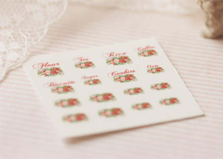 Dollhouse Miniature Decals – Kitchen Canister Labels Set 4