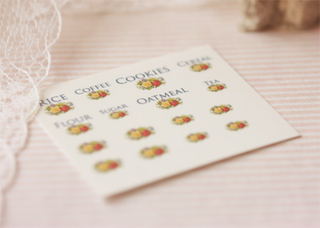 Dollhouse Miniature Decals � Kitchen Canister Labels Set 5-dollhouse miniature decals, dollhouse miniature canister decals, 1:12 scale canister decals, shabby chic decals, elegant decals, dollhouse miniature printables, peili miniatures