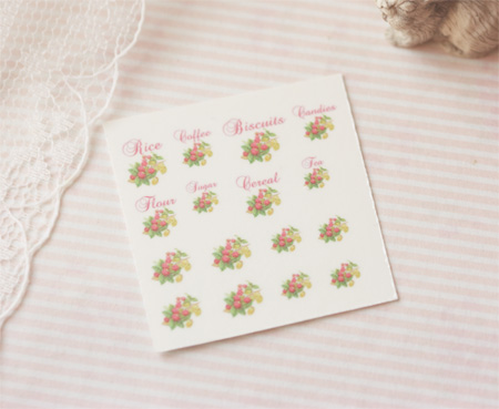 Dollhouse Miniature Decals � Kitchen Canister Labels Set 7