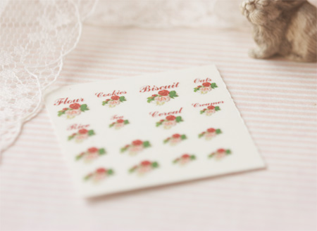 Dollhouse Miniature Decals � Kitchen Canister Labels Set 6