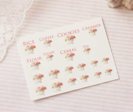 Dollhouse Miniature Decals – Kitchen Canister Labels Set 3
