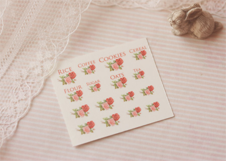 Dollhouse Miniature Decals � Kitchen Canister Labels Set 2-dollhouse miniature decals, dollhouse miniature canister decals, 1:12 scale canister decals, shabby chic decals, elegant decals, dollhouse miniature printables, peili miniatures
