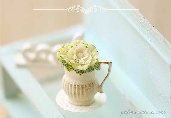 Dollhouse Miniature Flowers - Cabbage Flower Arrangement