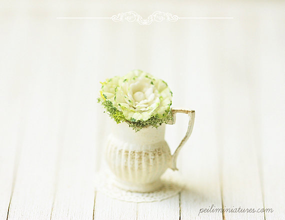 Dollhouse Miniature Flowers - Cabbage Flower Arrangement-Dollhouse Miniature Flowers - Cabbage Flower Arrangement