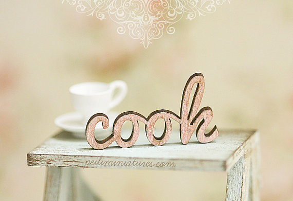 Dollhouse Miniature - Wood Letters - COOK