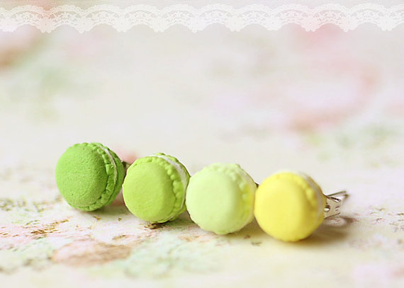 Food Jewelry - Macarons Earrings (Green & Yellow Series)