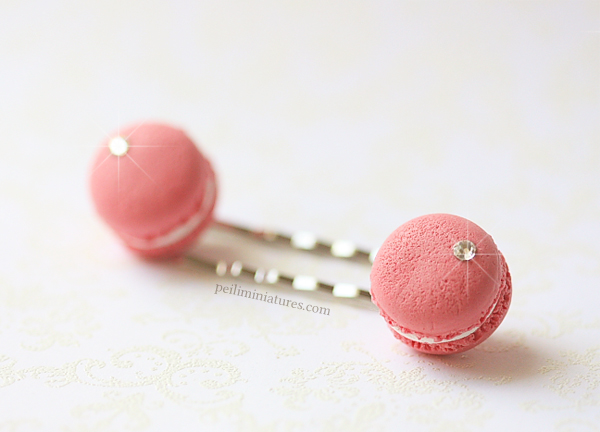 Cute Hair Clip - Raspberry Pink French Macarons Bobby Pin-food jewelry, pink french macarons bobby pin, cute hair clip