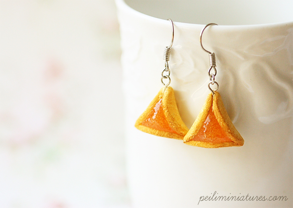 Purim Earrings - Fig, Apricot, Raspberry Hamantaschen-purim earrings, hamantaschen earrings