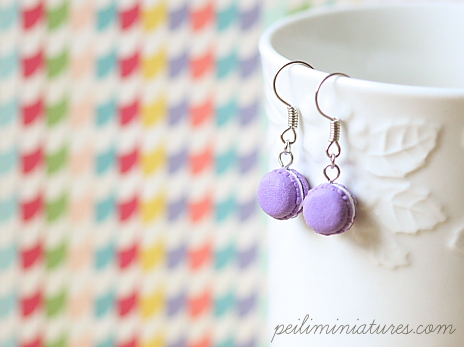 Cute Clay Earrings - Macarons in Royal Purple-cute clay earrings, food jewelry, food earrings, macaron earrings