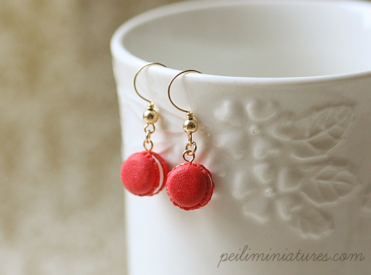 Christmas Earrings - 14K Gold Christmas Cheer Macarons