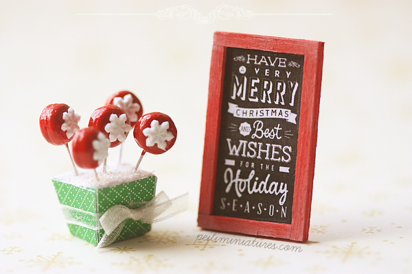Dollhouse Miniature Christmas - Snowflake Cake Pops and Poster
