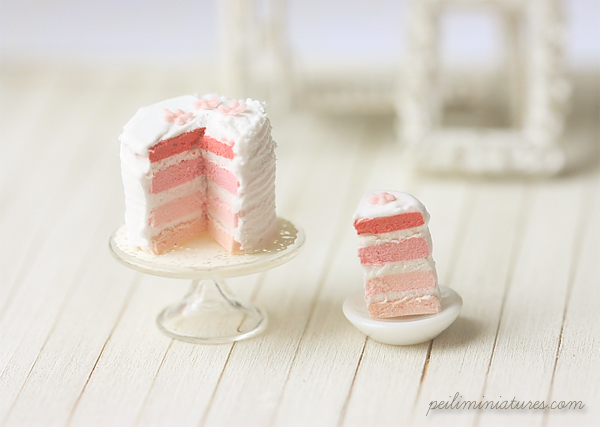 Miniature Dollhouse Food - Pink Rainbow Cake-miniature dollhouse food, dollhouse food, pink rainbow cake,