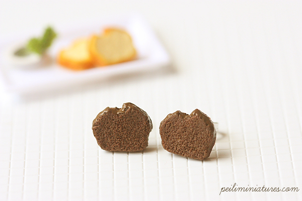 Chocolate Pound Cake Earrings-cake earrings, cake jewelry, chocolate pound cake earrings