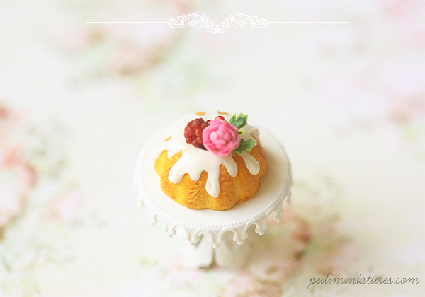 Miniature Food - Raspberry Spring Bundt Cake-miniature food, miniature bundt cake