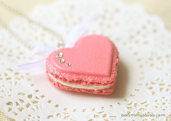 Heart Macaron Necklace - Raspberry Pink Macaron with swarovski crystal