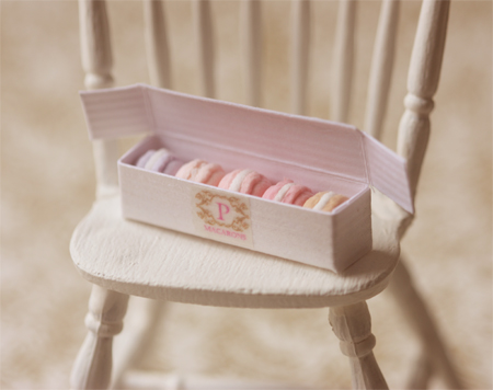 Miniature Dollhouse Food - Macarons in Box in 1/12 Scale-miniature dollhouse food, dollhouse food, miniature food, doll house food, dollhouse miniature food, pei li miniatures