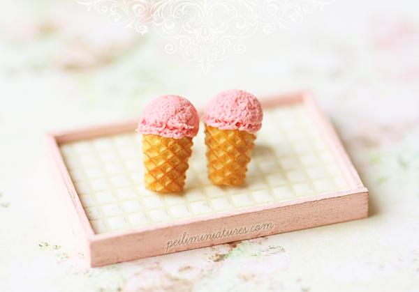 Dessert Earrings - Strawberry Ice Cream Earrings Stud-ice cream earrings, dessert earrings