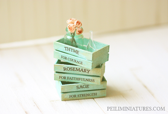 Dollhouse Accessories - Herb Wooden Vintage Crates- Turquoise-herb wooden vintage crates