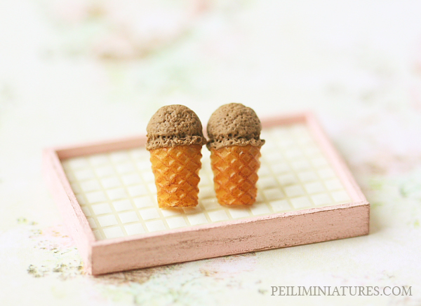 Dessert Earrings - Chocolate Ice Cream Earrings Stud-dessert earrings, ice cream earrings