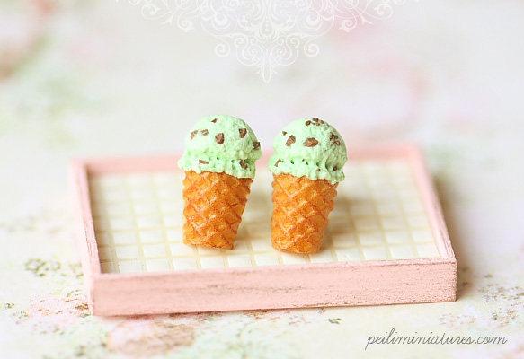 Dessert Earrings - Ice Cream Earrings Stud - Mint Chocolate Chip-ice cream earrings, dessert earrings, food earrings