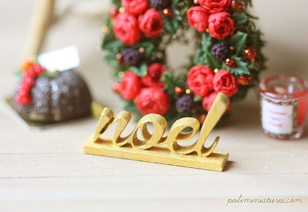 Dollhouse Miniature - Wood Letters - Free Standing Wooden Letters - NOEL-christmas words, dollhouse miniature christmas