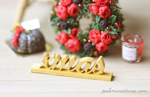 Dollhouse Miniature - Wood Letters - Free Standing Wooden Letters - XMAS