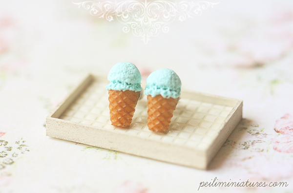 Dessert Earrings - Blue Soda Ice Cream Earrings Stud