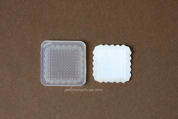 Doily Lace Mold - Square Mold - Silicone Lace Mold - 3.7cm-dollhouse miniature silicone lace mold, square lace mold