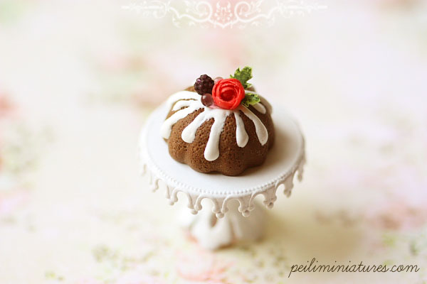 Miniature Food - Blackberry Chocolate Bundt Cake