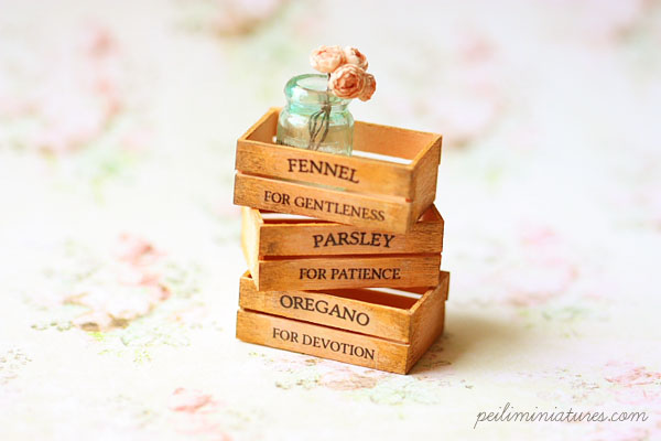 Dollhouse Accessories - Herb Wooden Vintage Crates- Peach-dollhouse miniature herb crates