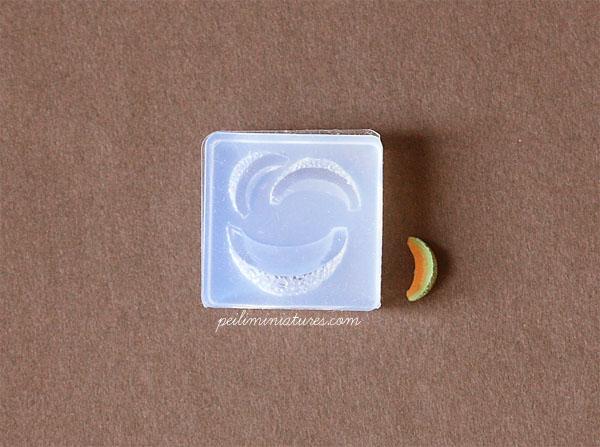 Miniature Honey Dew Slice Mold-honey dew mold, miniature fruit mold