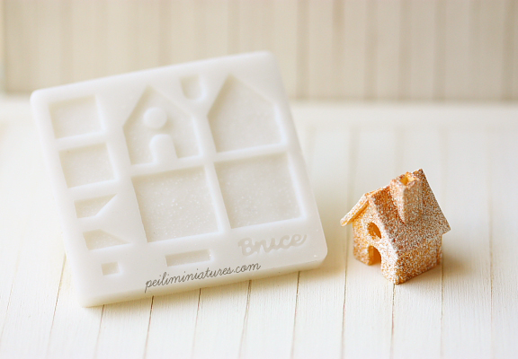 Dollhouse Miniature Christmas Gingerbread House-dollhouse miniature christmas mold, 1:12 scale gingerbread house mold