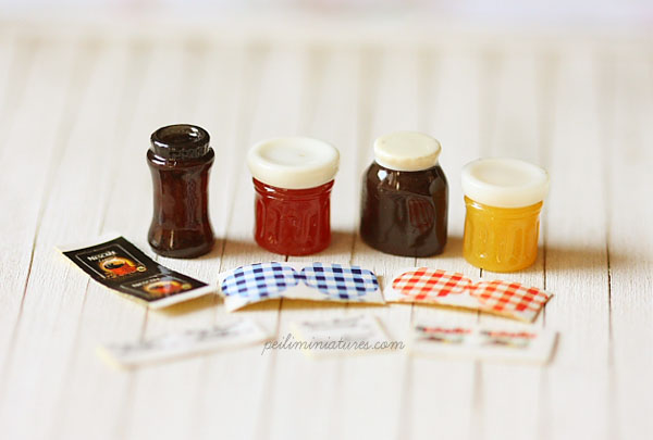 Dollhouse Supplies - Jam, Coffee and Nutella Kit-dollhouse supplies