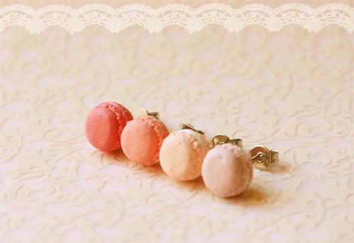 Food Jewelry - Pink Macarons Earrings (Dusty Pink Series)