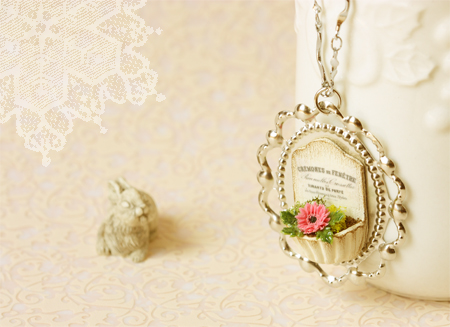 Clay Jewelry - French Chic Gerbera Daisy Necklace-french chic, necklace, clay jewelry