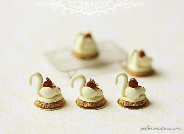 Dollhouse Miniature Food - White Chocolate Swan Desserts-dollhouse swan desserts