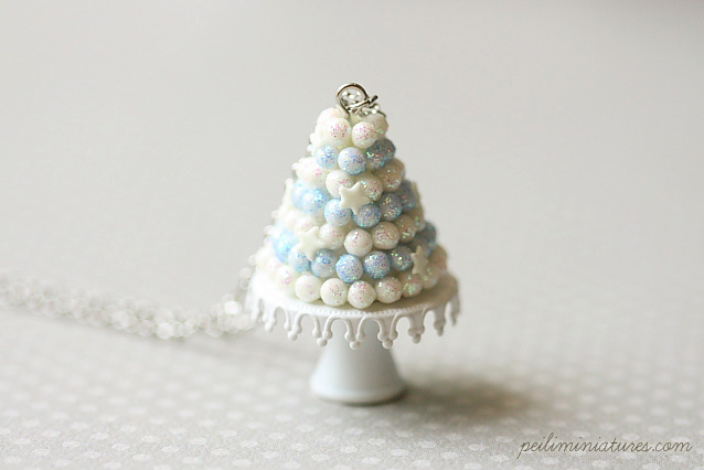 White Christmas Tree Cake Jewelry - Christmas Necklace-christmas necklace, christmas jewelry, holiday jewelry, holiday necklace, christmas tree necklace