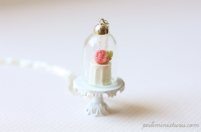 Vanilla Rose Cake Glass Dome Necklace - Cake Necklace-cake necklace, cake jewelry