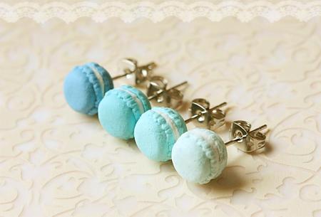 Food Jewelry - Blue Macarons Earrings (Lagoon Blue Series)-food earrings, macaron earrings, clay jewelry, macaron, blue macarons, food Jewelry