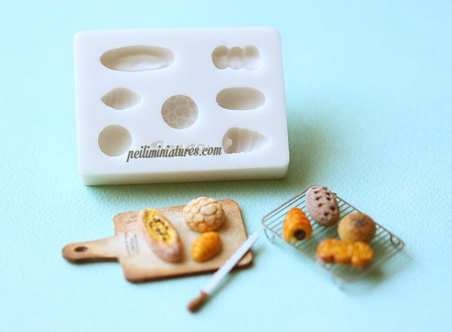 Miniature Clay Mold Push Mold for Dollhouse Miniature Assorted Breads-dollhouse miniature bread mold, assorted bread mold