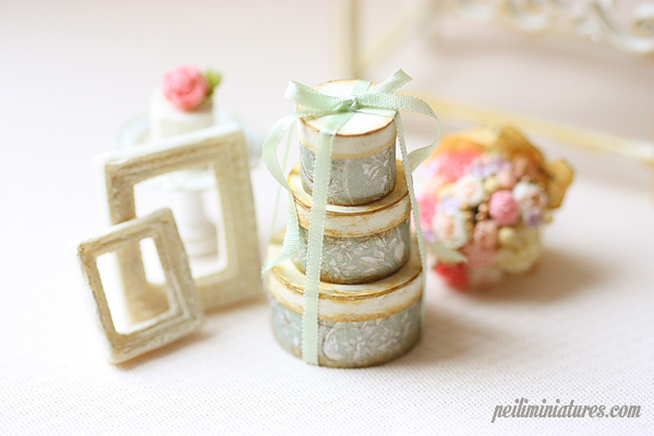 Dollhouse Miniature Soft Sage Round Victorian Gift Boxes-dollhouse miniature round victorian gift boxes
