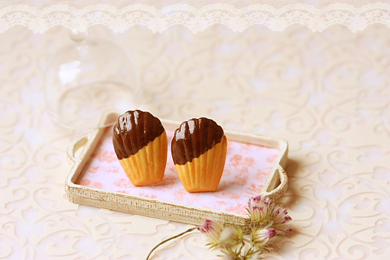 Food Jewelry - Chocolate French Madeleine Earring Studs-french madeleine, earring studs, faux food jewelry, pei li miniatures, Food Jewelry