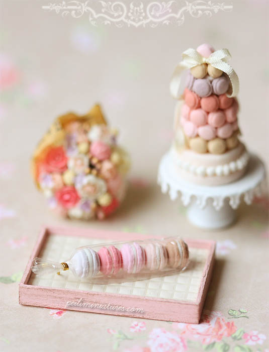 Dollhouse Food Miniatures - Assorted Pink Macarons in Cellophane Wrapping-dollhouse cake, dollhouse cake slices